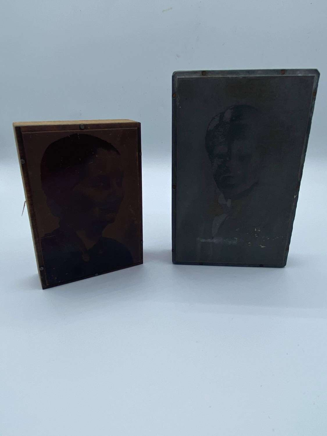 Antique Pair Of Copper Portrait Negative Printing Photo Plate