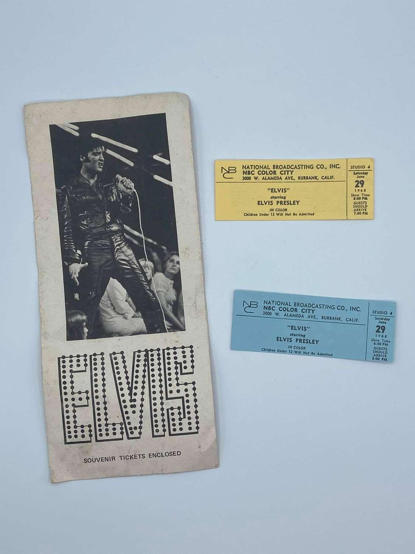 1968 Elvis Starring Elvis Presley Souvenir Tickets & Envelope NBC