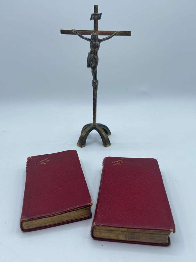 Antique German Brass Religious Cross Crucifix, Common Prayer & HymBook