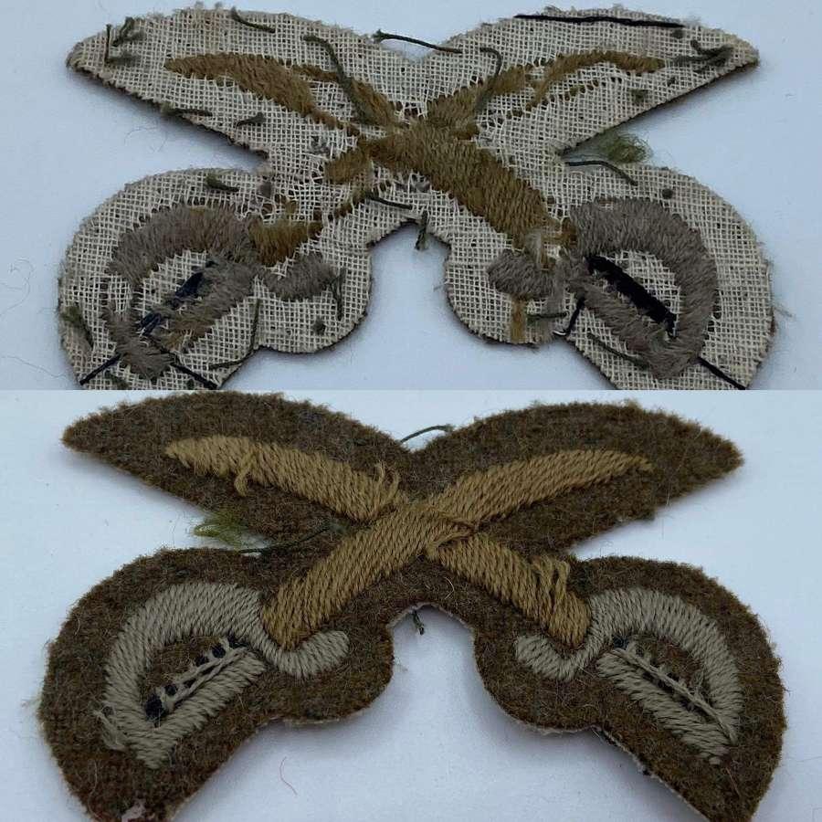 WW2 British Army PTI Crossed Swords Patch Arm Insignia