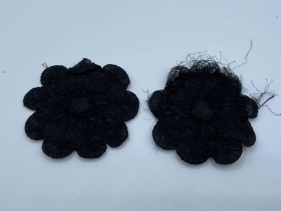 Antique Victorian Black Mourning Fabric Pin On Flowers