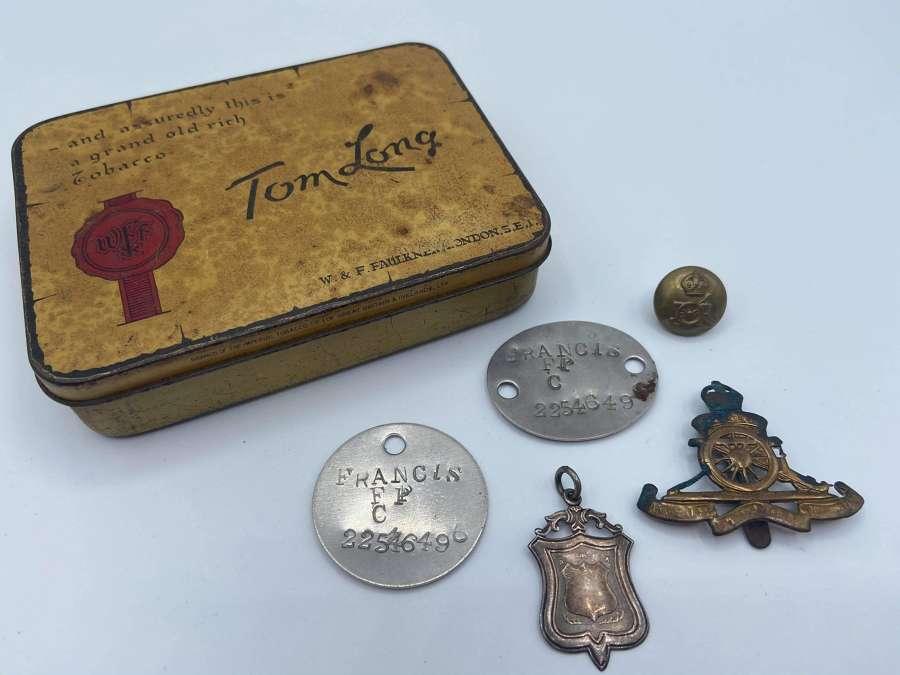 WW2 Royal Artillery Small Group To P Francis: Dogtags Beret Badge etc