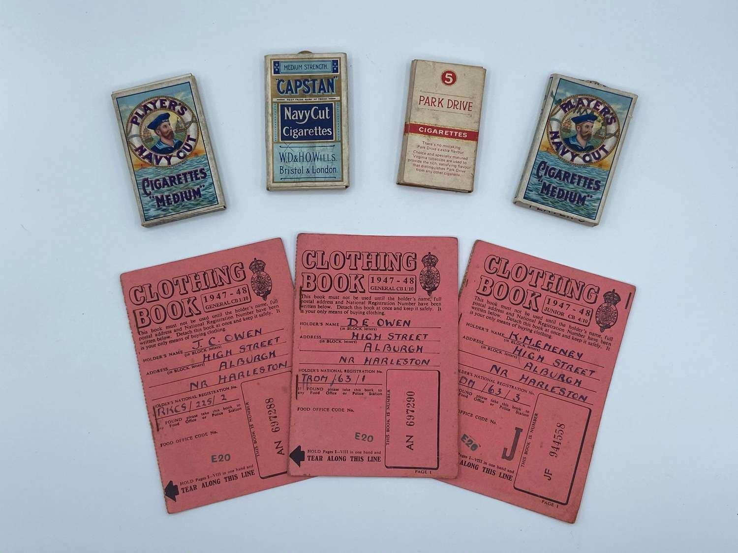 WW2 Alburgh Clothing Book Rations & Players Navy Cut Packets Date 1934