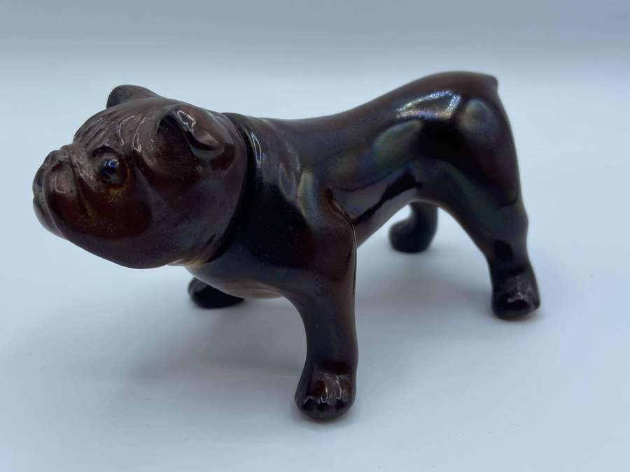 WW2 Era 1940s Glazed Ceramic Standing British Bulldog Spirit Flask