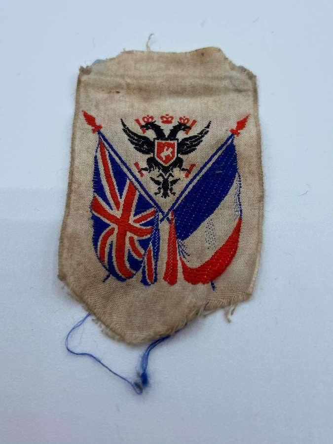 WW1 Silk Patch Commemorating The Triple Entente Russia France And GB