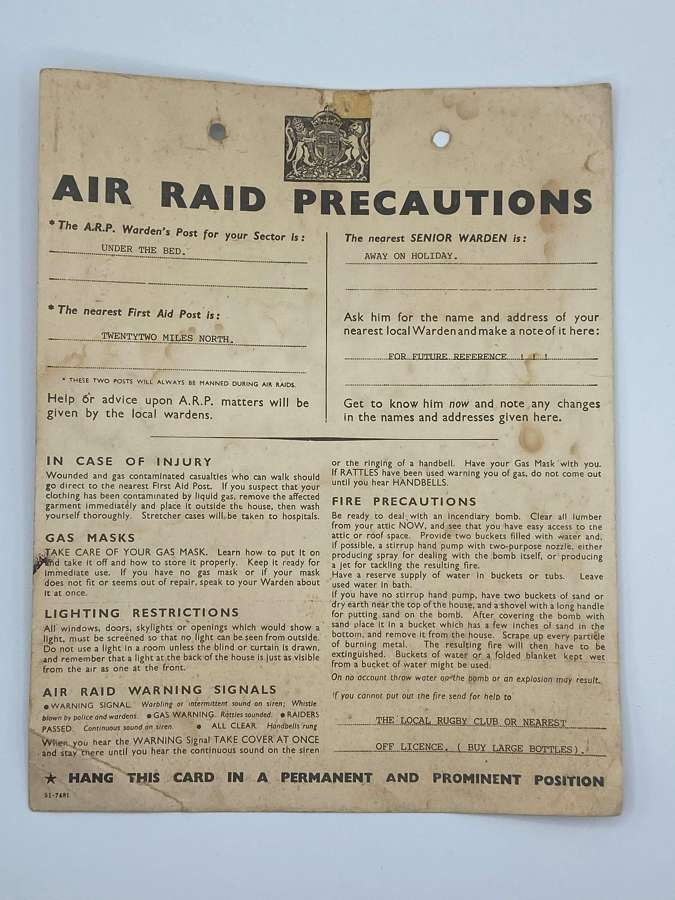 WW2 Air Raid Precautions Warning Card Comical ARP Wardens Post For You