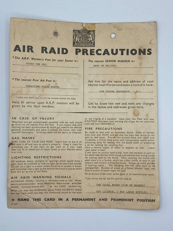 WW2 Air Raid Precautions Warning Card Comical ARP Wardens Post For You