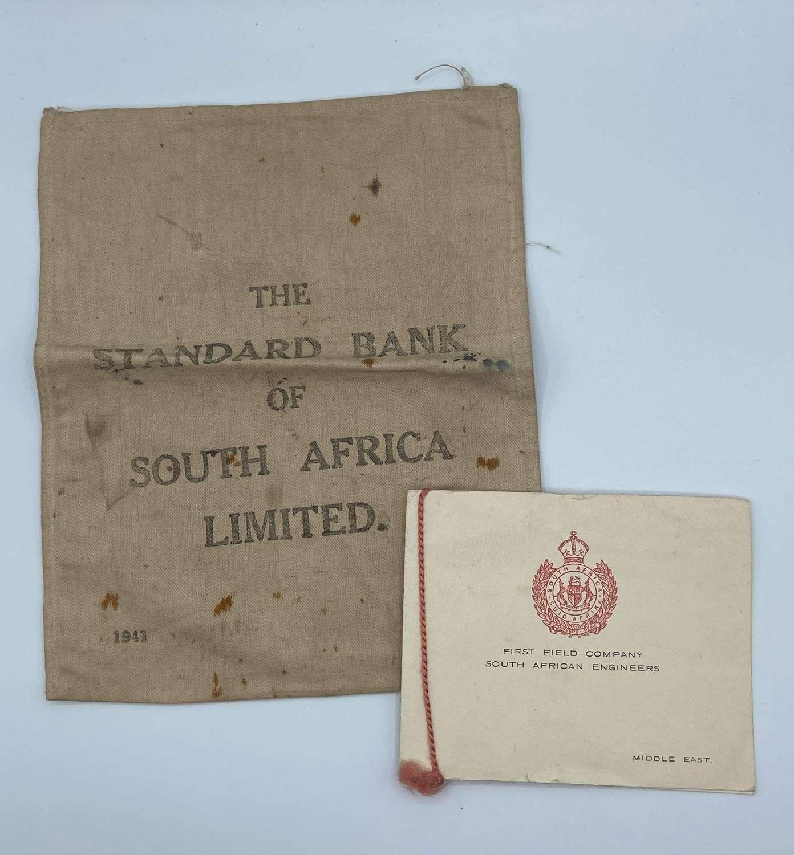 WW2 1941 Date South African Engineers Christmas Card & SA Bank Bag