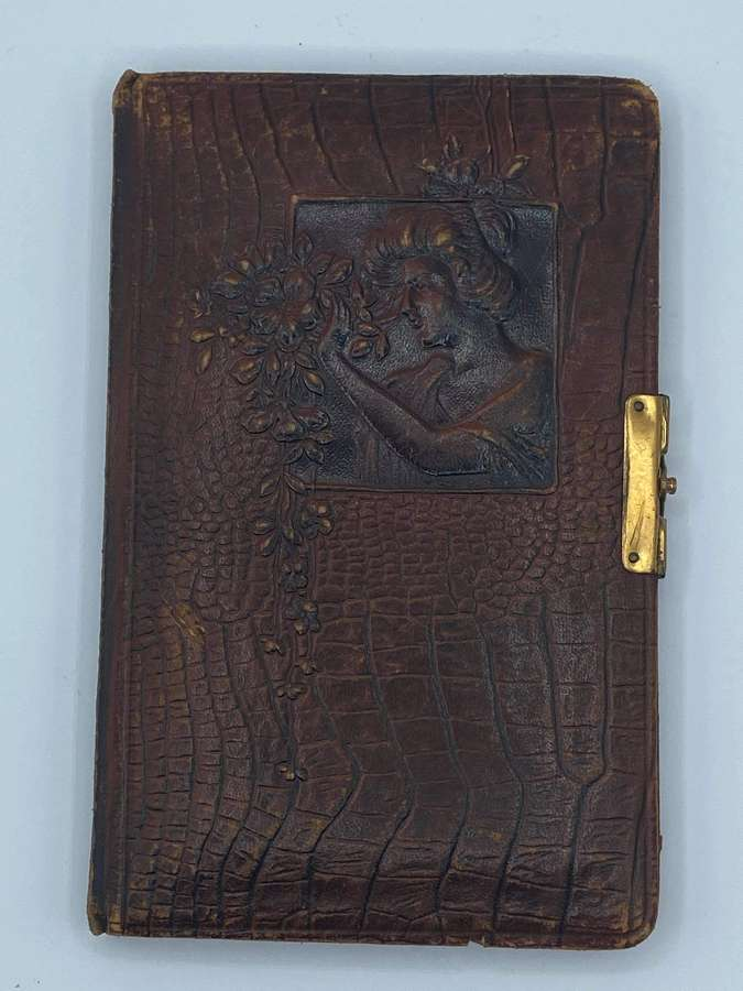1910s German Art Nouveau Embossed Leather Crocodile Leather Album