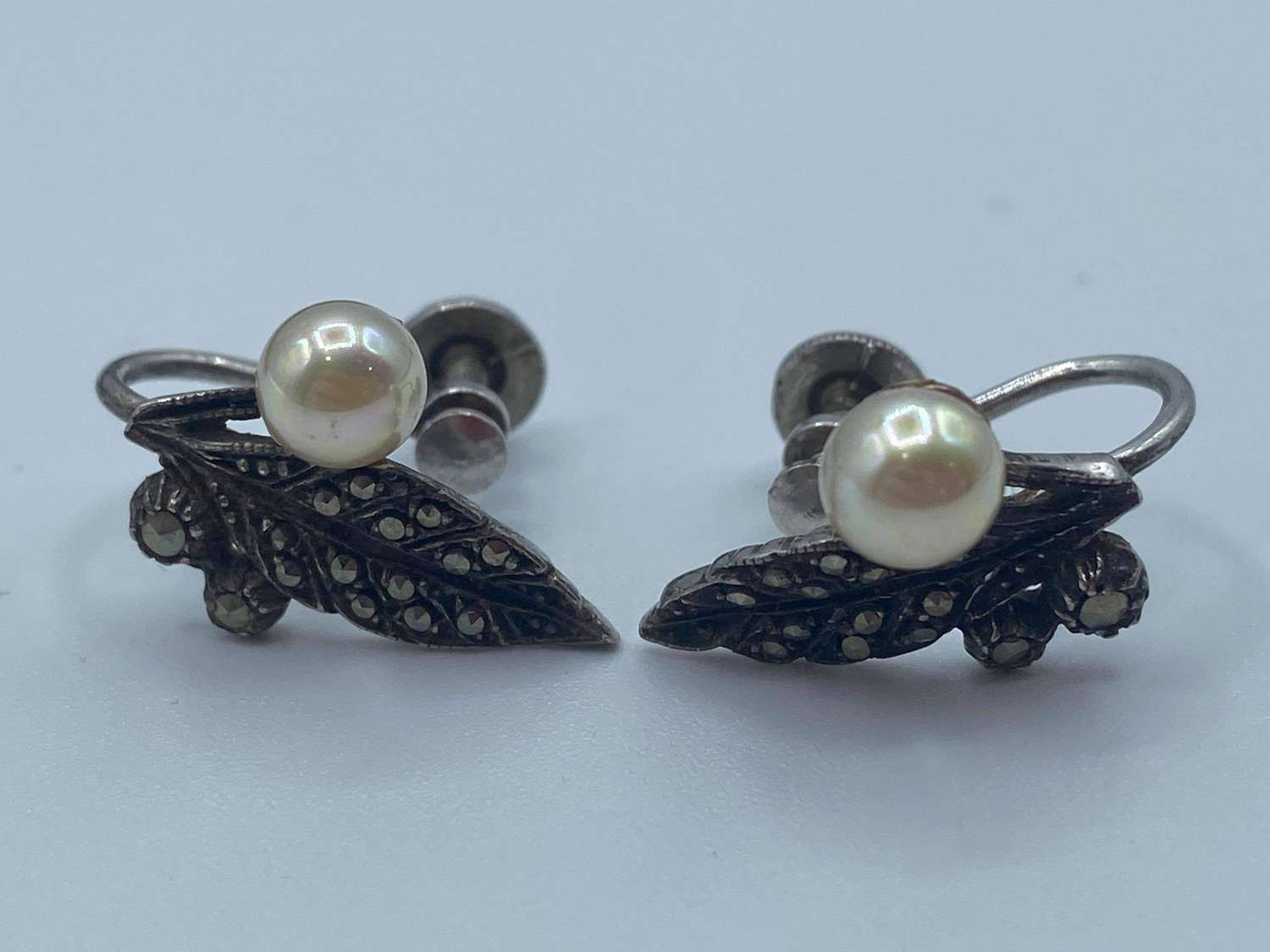 Pair Of Antique 1940s Silver & Marcasite Pearl Earrings Marked Silver