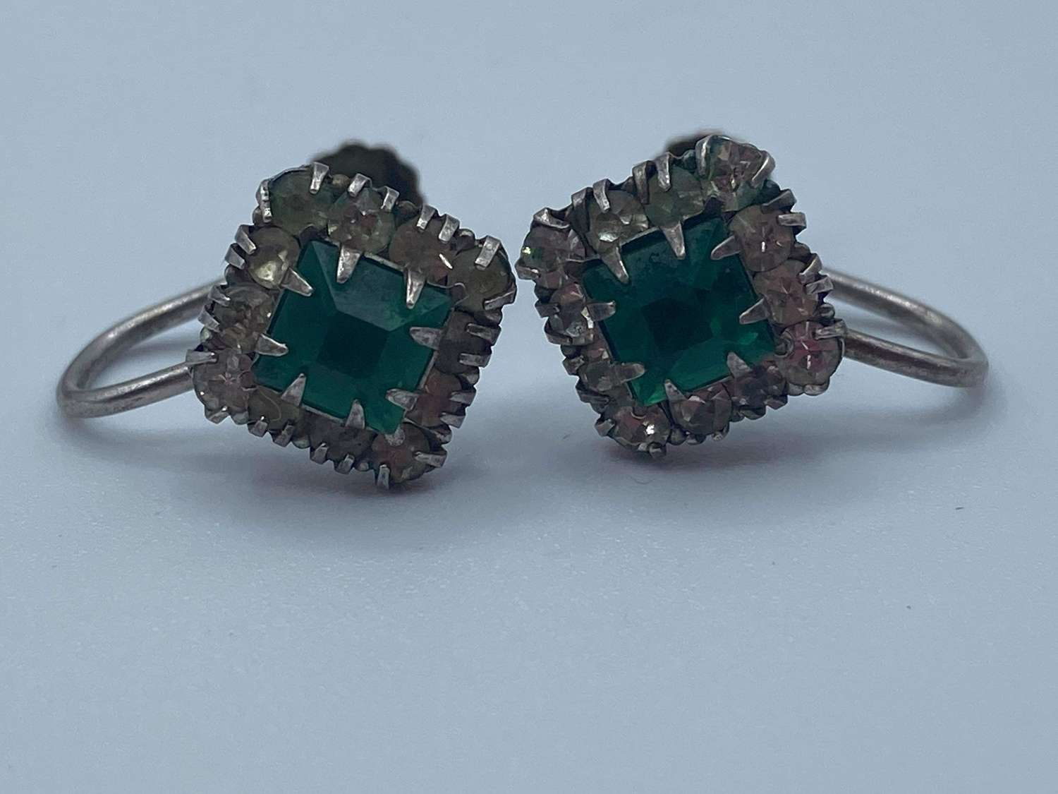 Pair Of 1940s Antique Art Deco Silver Marked Green Clear Paste Earring