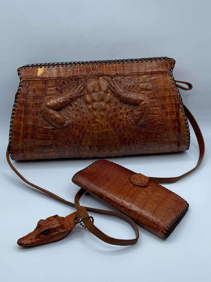 Vintage Crocodile Skin Handbag, Matching Purse & Croc Head Keyring