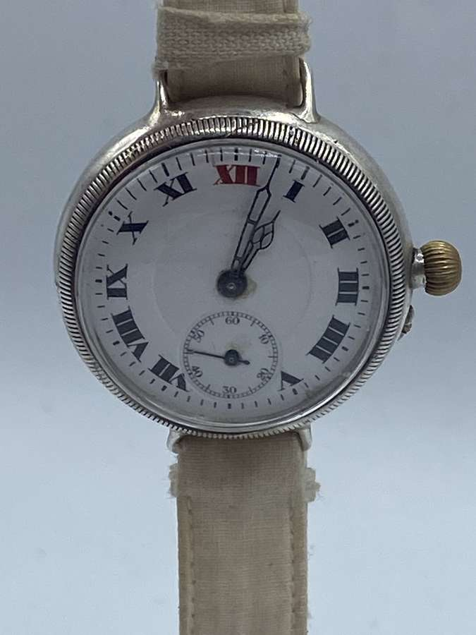 WW1 Silver Art Deco British Army Officer Trench Watch Great TimeKeeper