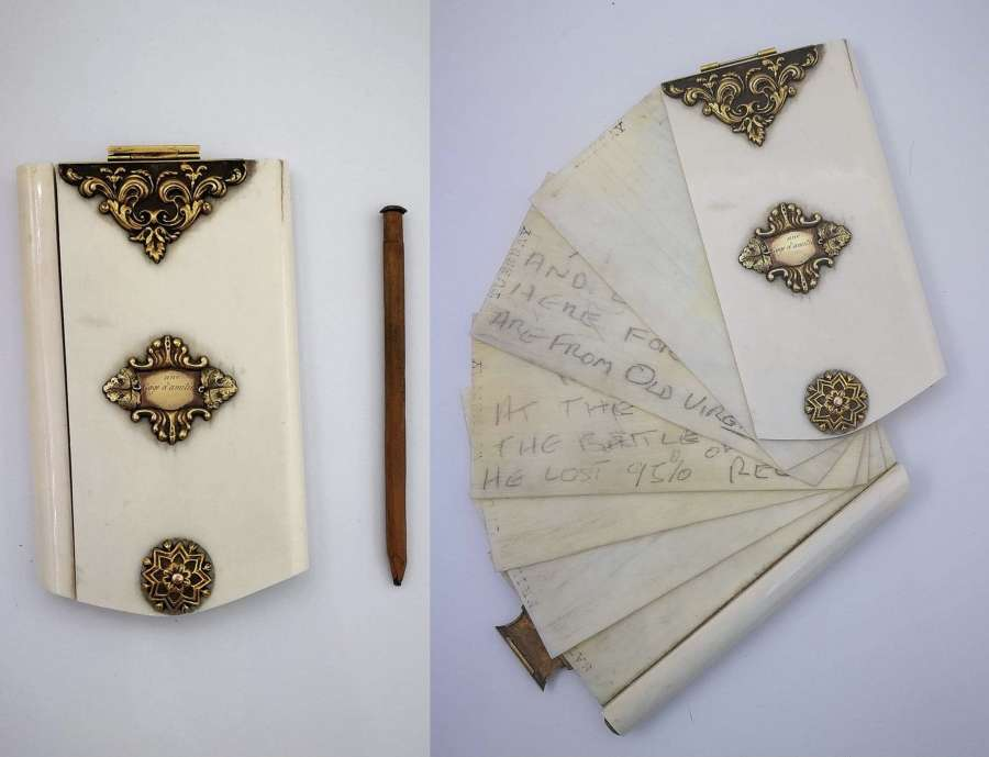 1850s Bone & 18ct Gold Floral Decorated Planner, US Civil War Interest