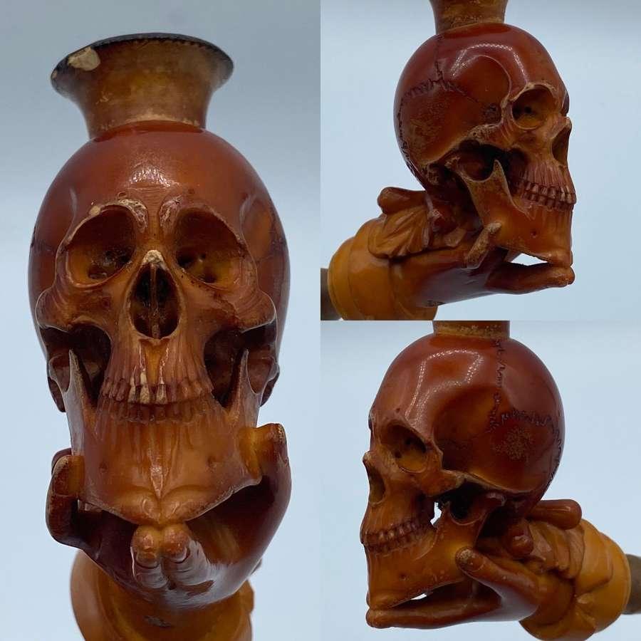 Victorian 1880s Meerschaum Memento Mori Skull Pipe By Arthur Schneider