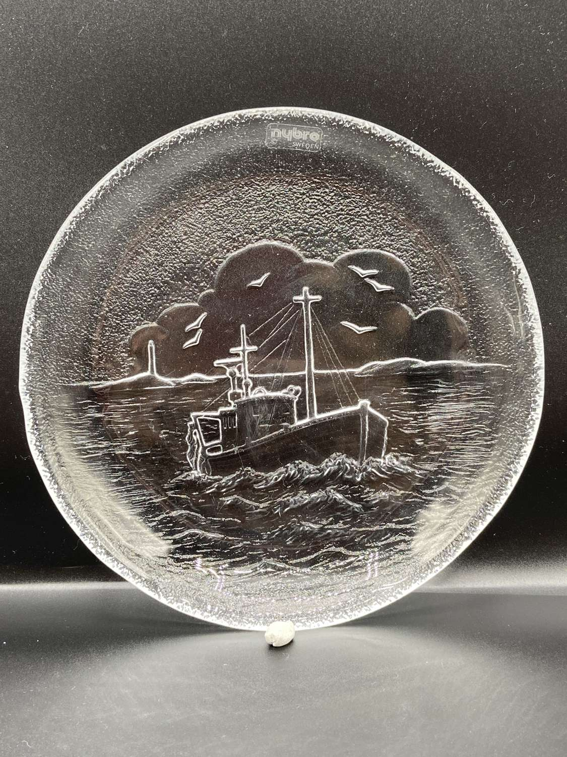 Vintage Nybro Swedish Glass Plate With A Fishing Boat Scene