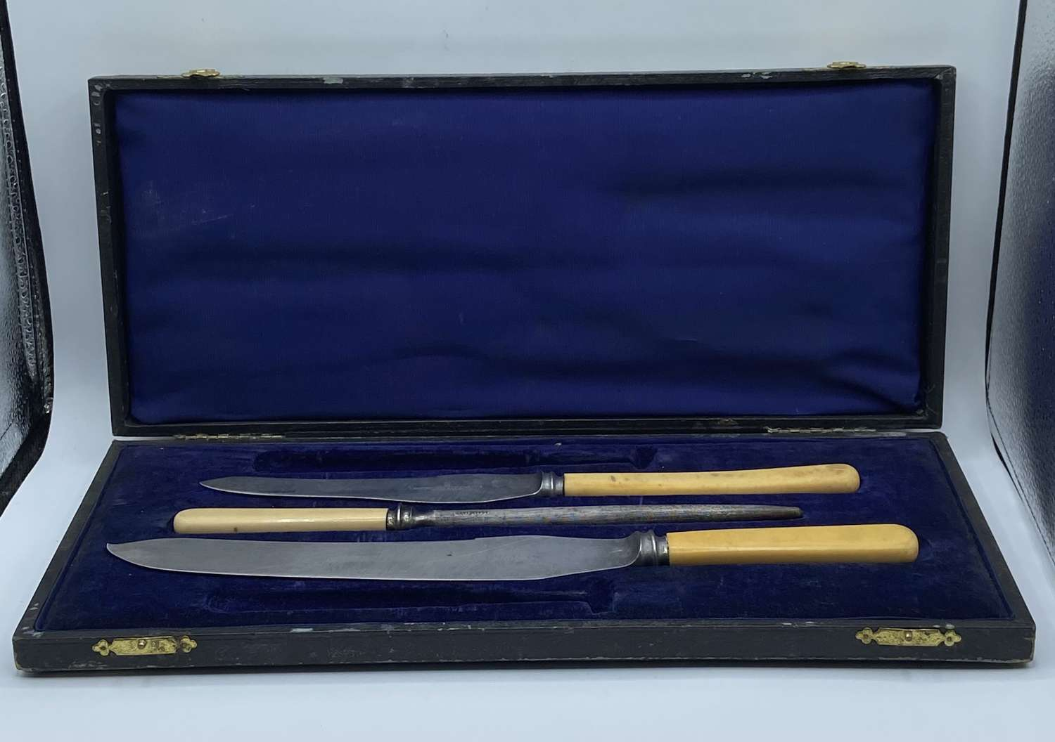 Antique James Deakin & Sons Sheffield Carving Set In Leather Box