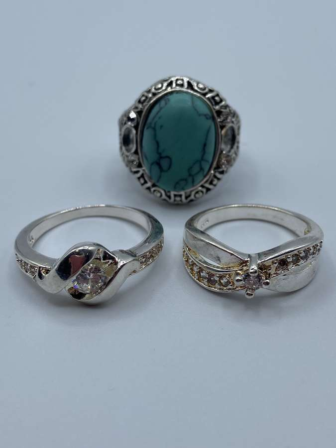 Job Lot Of 3 Vintage Silver 925 Marked Rings Costume Jewellery