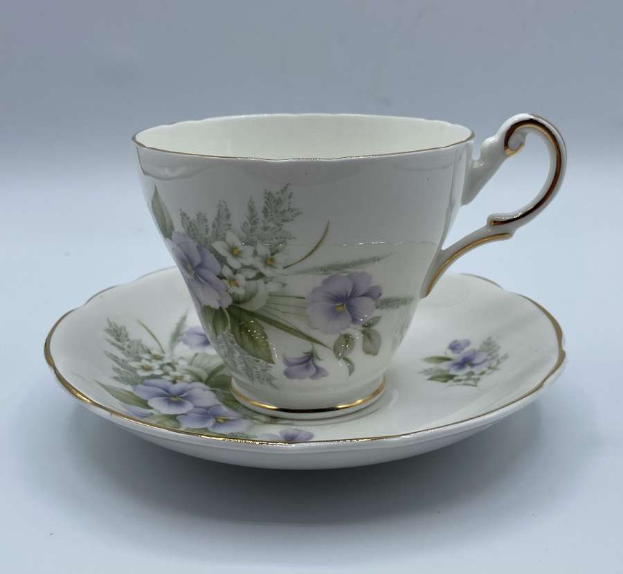Antique Vintage Regency English Bone China Floral Tea Cup And Saucer