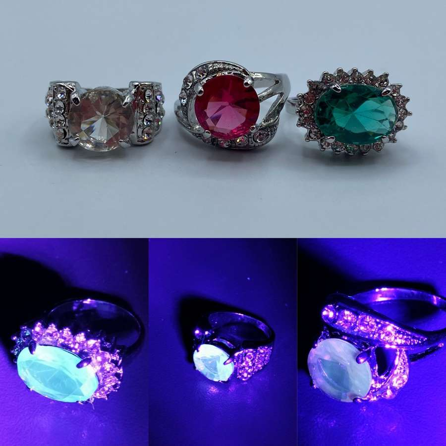 3 X Art Deco Vintage Silver Tone Vaseline Uranium Glass Rings