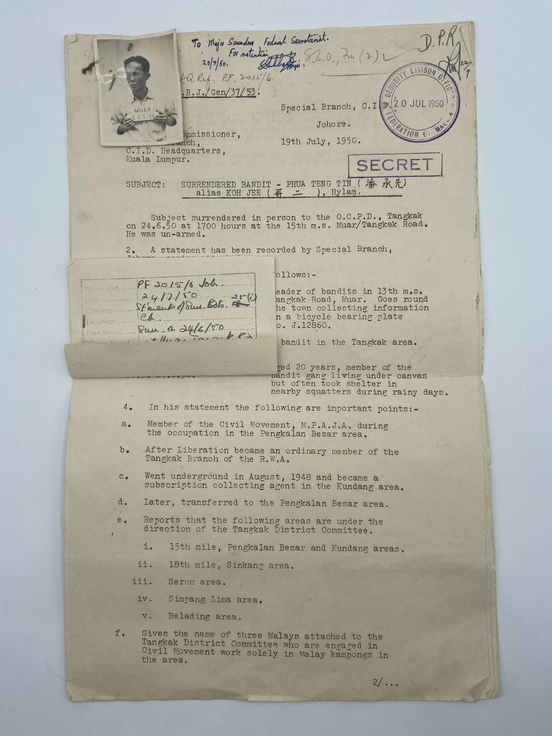 Malayan Emergency 1950 Surrendered Bandit Liwing Gang Statement