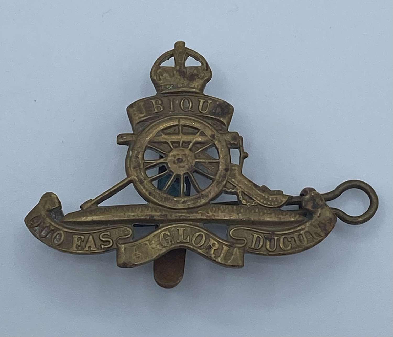 WW2 British Army Royal Artillery Cap Badge Double Attachment Slider &