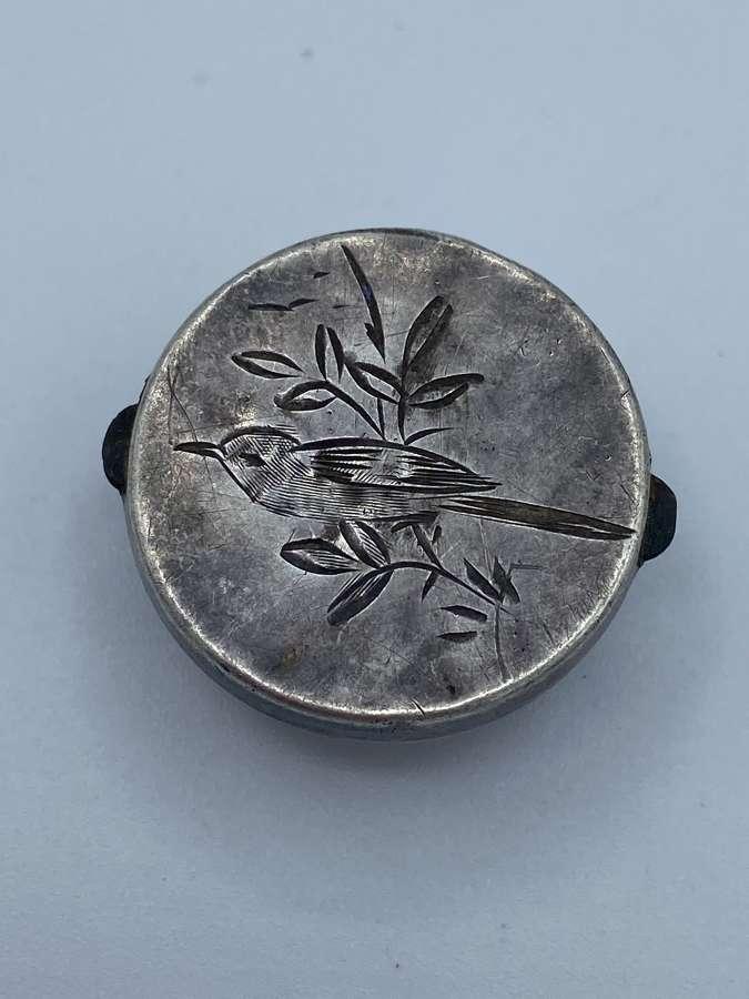 Antique Victorian Sterling Silver Bachelor Button Cufflink Solitair