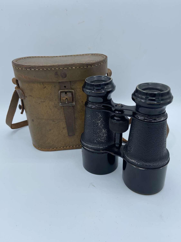 WW1 British War Office Model Lumiere Paris Binoculars In Original Case