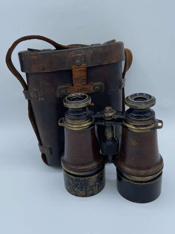 WW1 British Army W Swart Binoculars In Original Leather Crow Foot