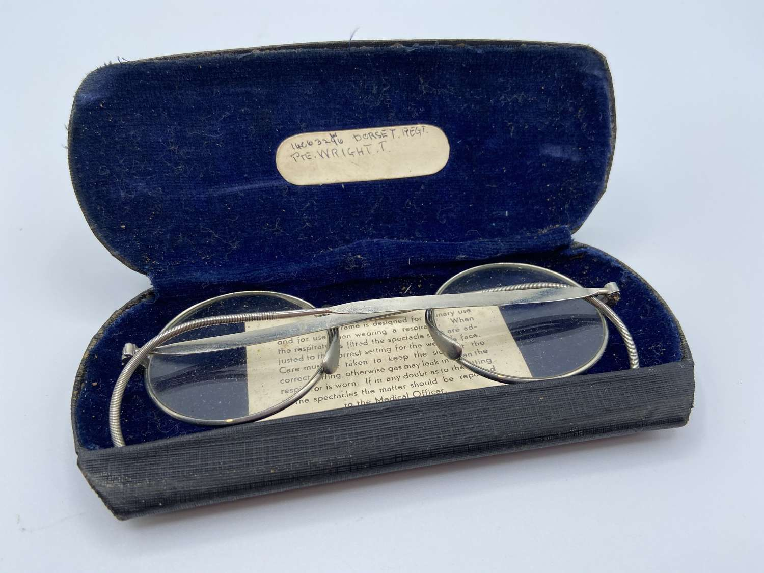 WW2 British Army Respirator Glasses Issued To Dorset Reg Pte Wright
