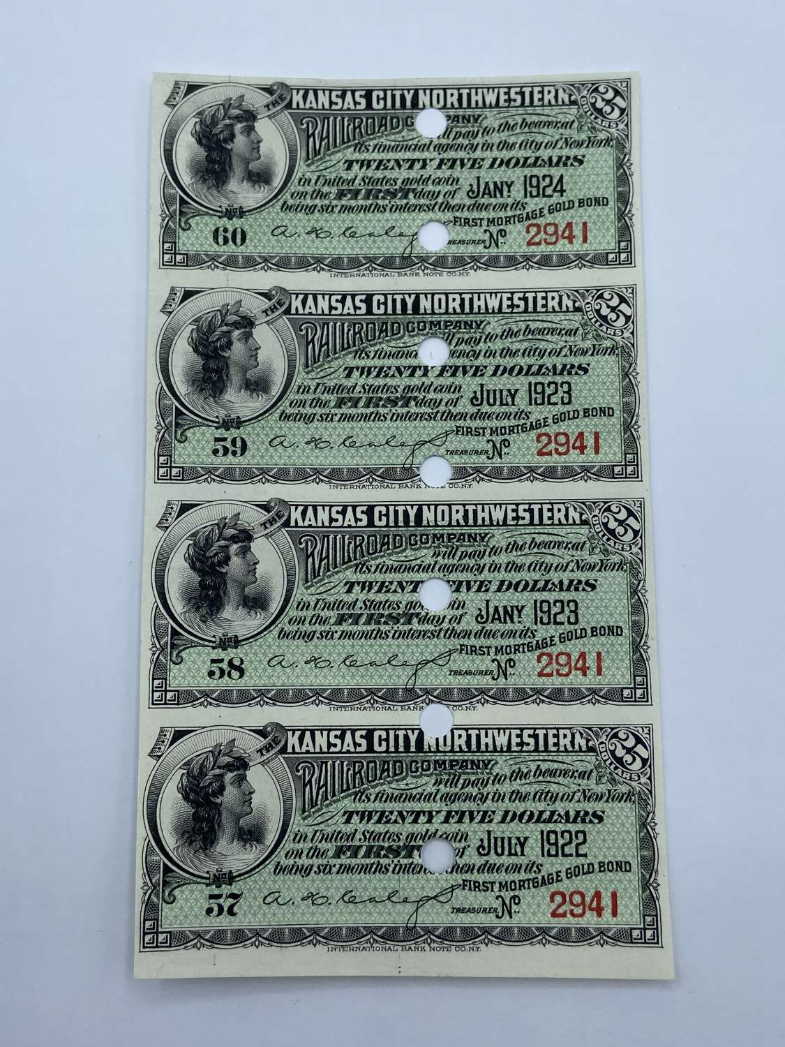 1922-24 Kansas City Northwestern Railroads Company 25 Dollar Bonds