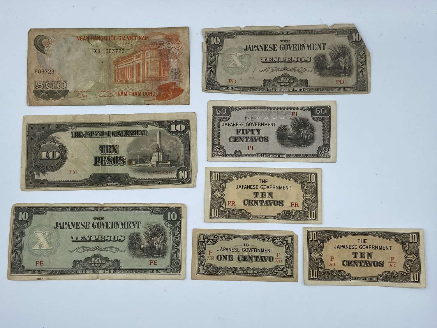 Group Of WW2 Japanese Occupation Bank Notes Southern Development Bank