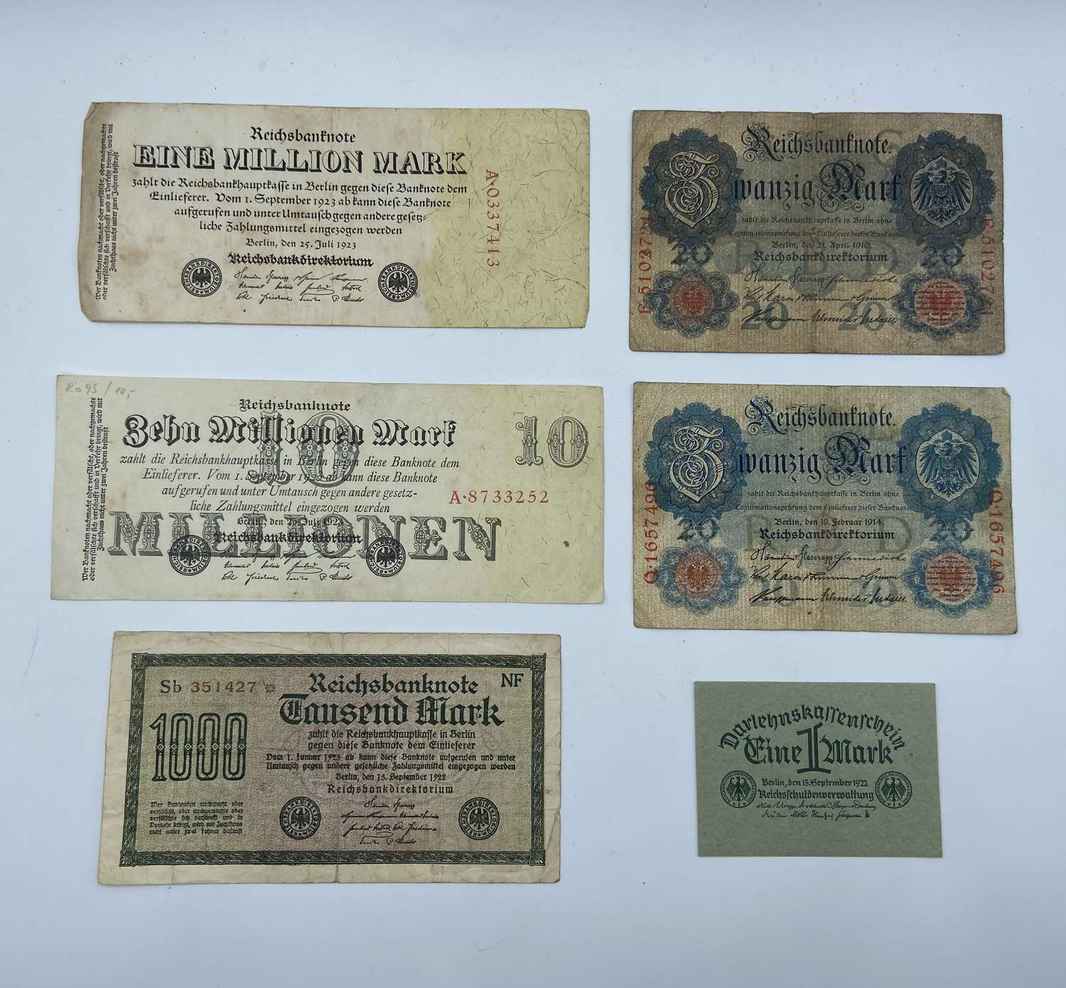 Lot Of WW1 German Inflation Notes; 10 Million, 1 Million etc