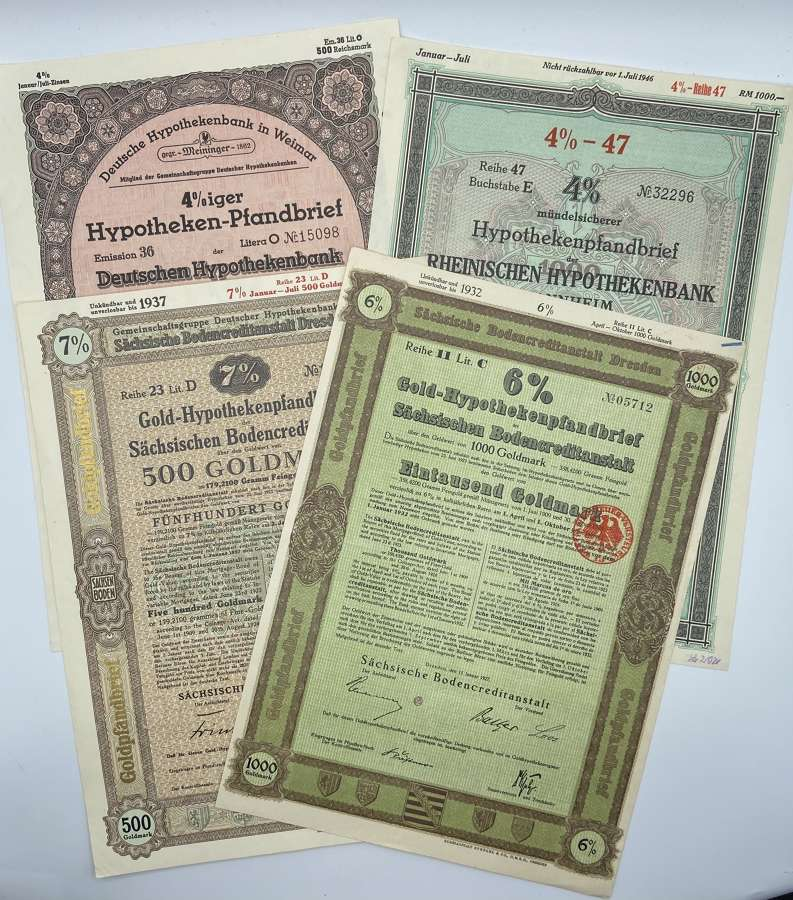 Lot Of 4 WW2 German Deutsche Hypothekenbank Bank Mortgage Goldmarks