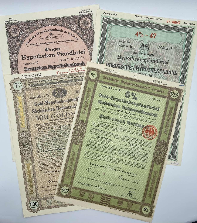 Lot Of 4 WW2 German Deutsche Hypothekenbank Bank Mortgage Goldmarks