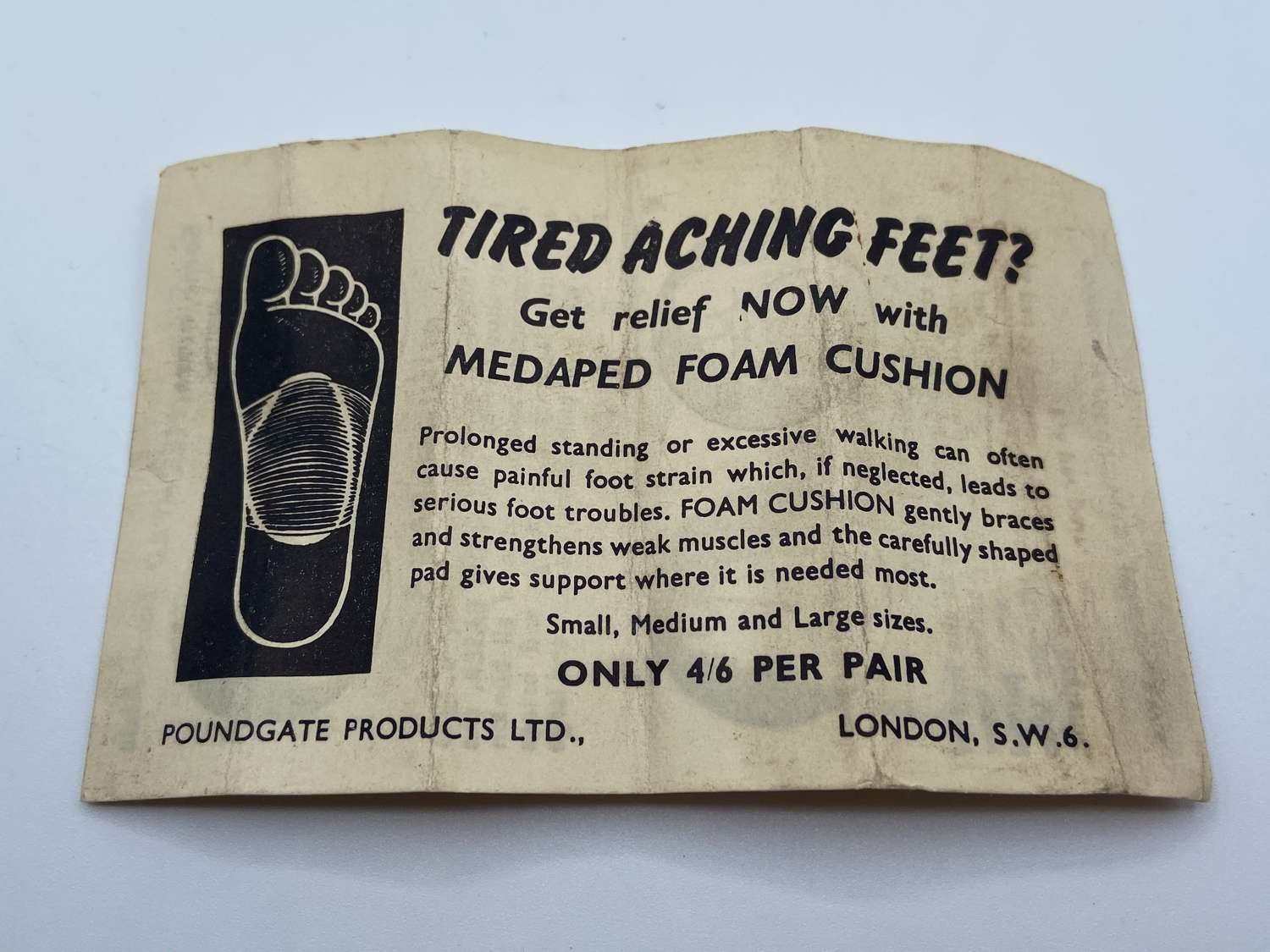 WW2 Home Front Apothecary Paper Advert For Tired Aching Feet Poundgate