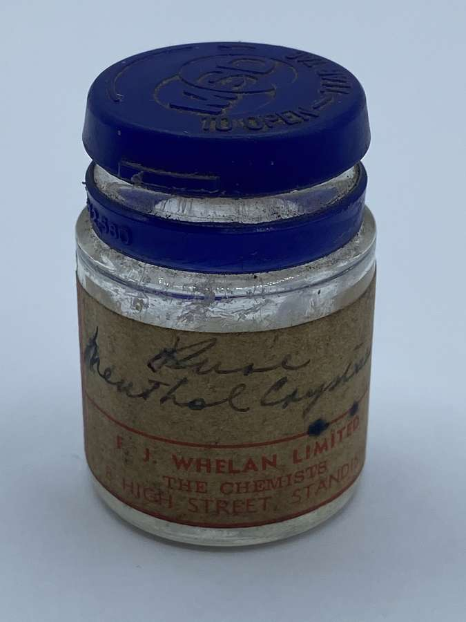 WW2 Home Front Chemist Pure Menthol Crystals Home Remedies Jar