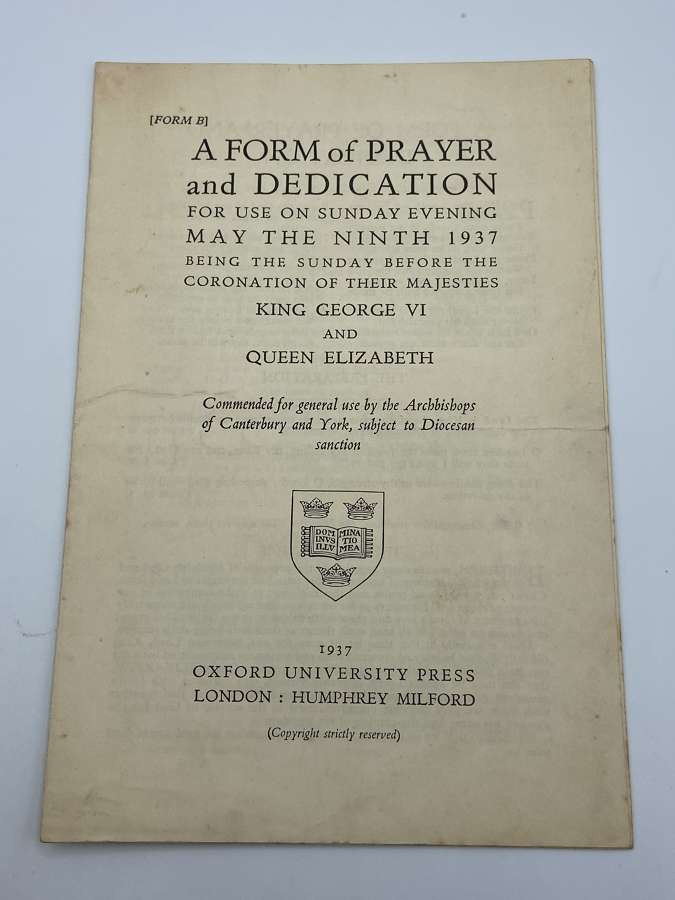 WW2 1937 Prayer form for Coronation Service of King George VI & Queen