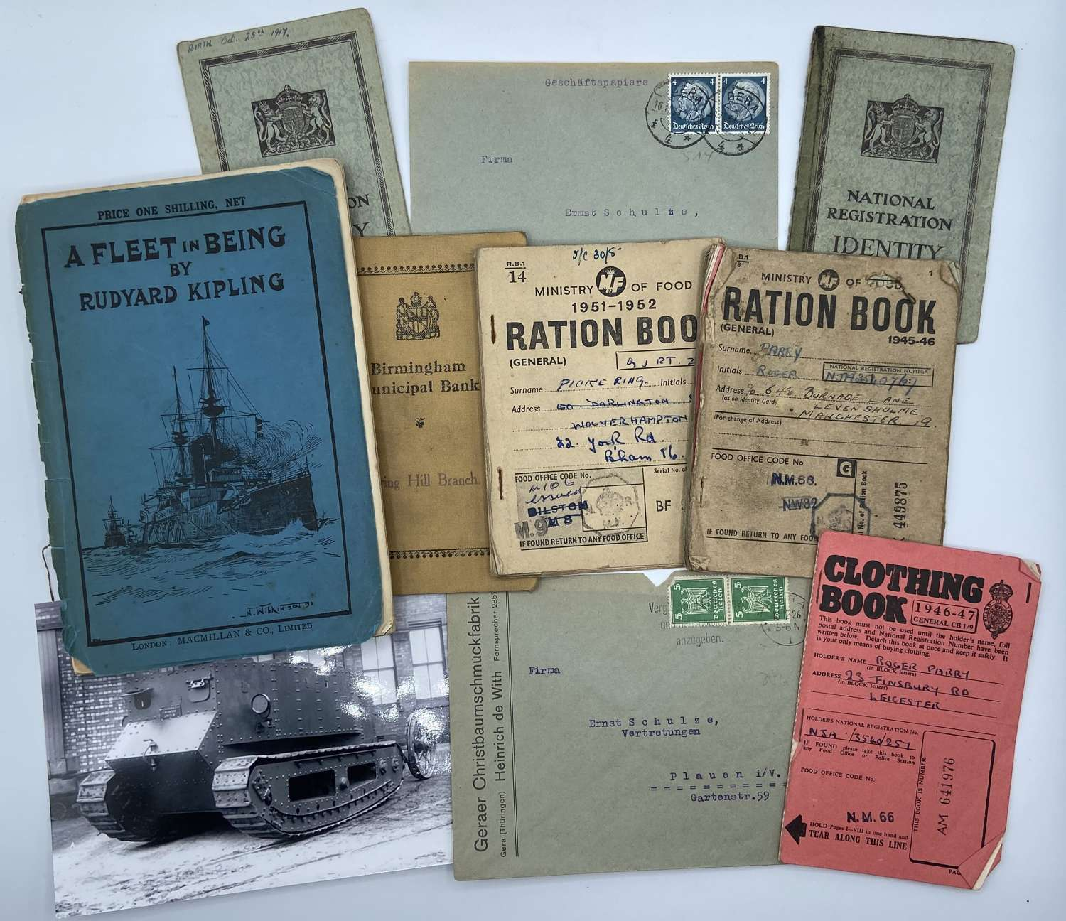 WW2 British Home Front Paperwork Lot Ration & Clothing, Bank Books