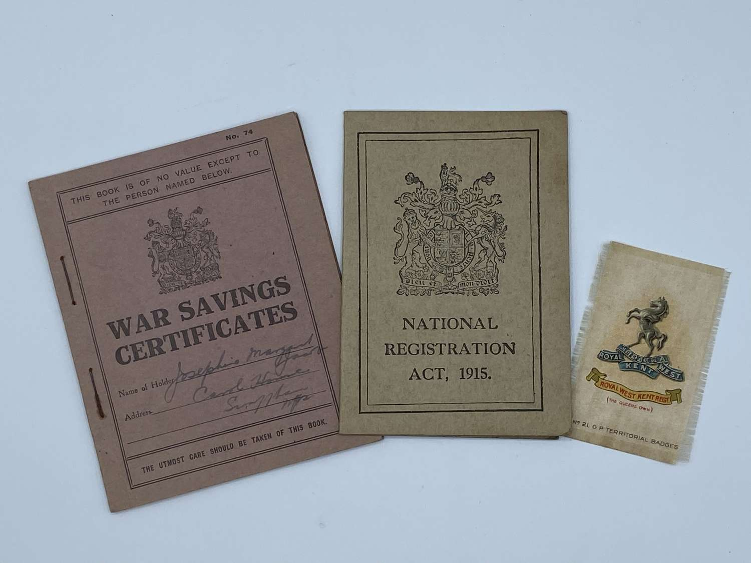 Small WW1 British Home Front Document Lot: War Saving Certificate Etc