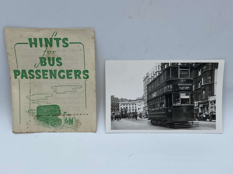 1920s London Social History Hints & Original Photo Of Clapham Tram