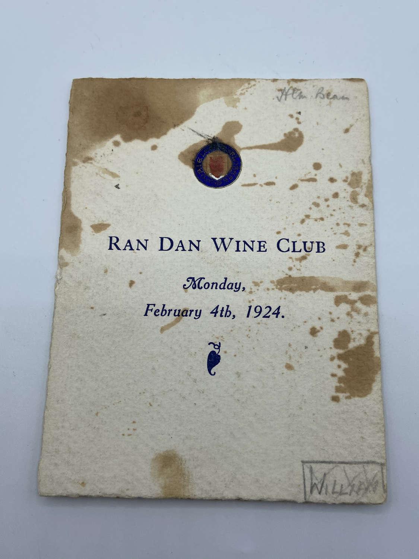Antique Ran Dan Wine Club Dinner Menu 1924 February 4Lincoln College