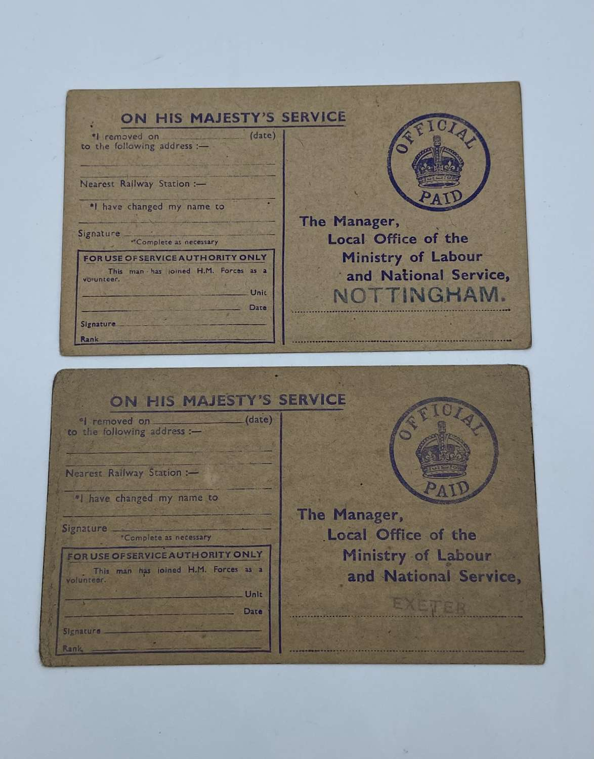 Pair Of WW2 Nottingham & Exeter National Service Acts Certificates
