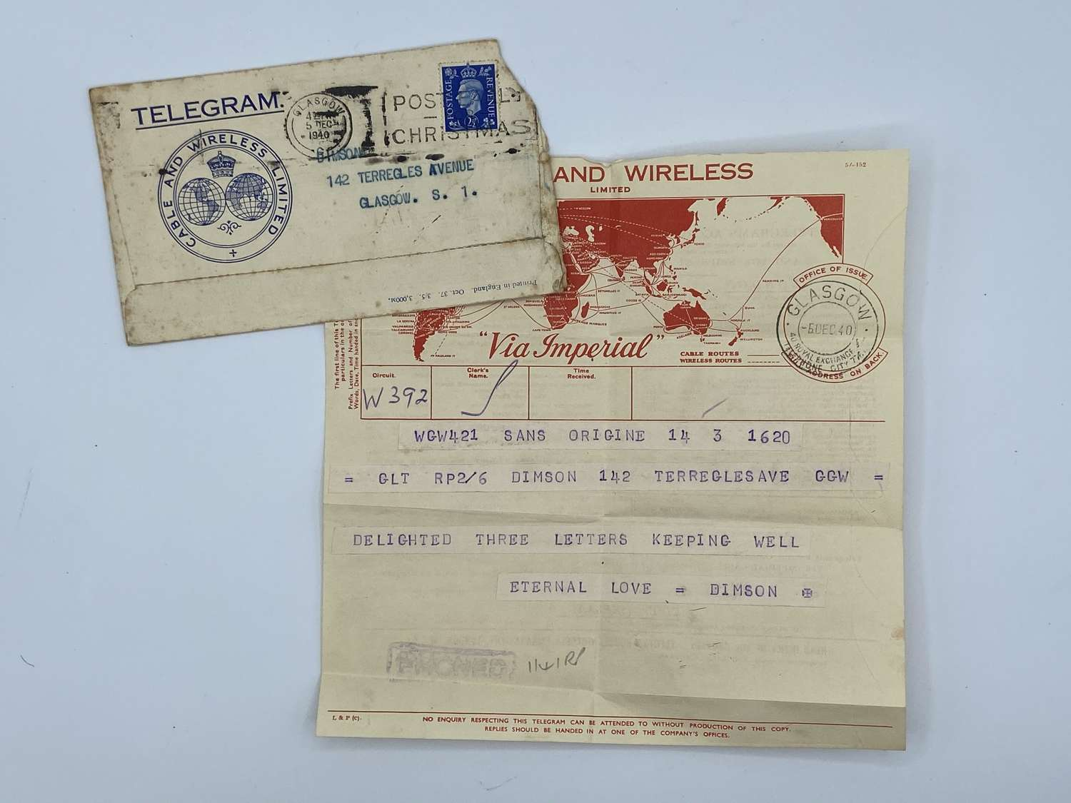 WW2 British Army Cable & Wireless Limited Telegram Letter And Cover