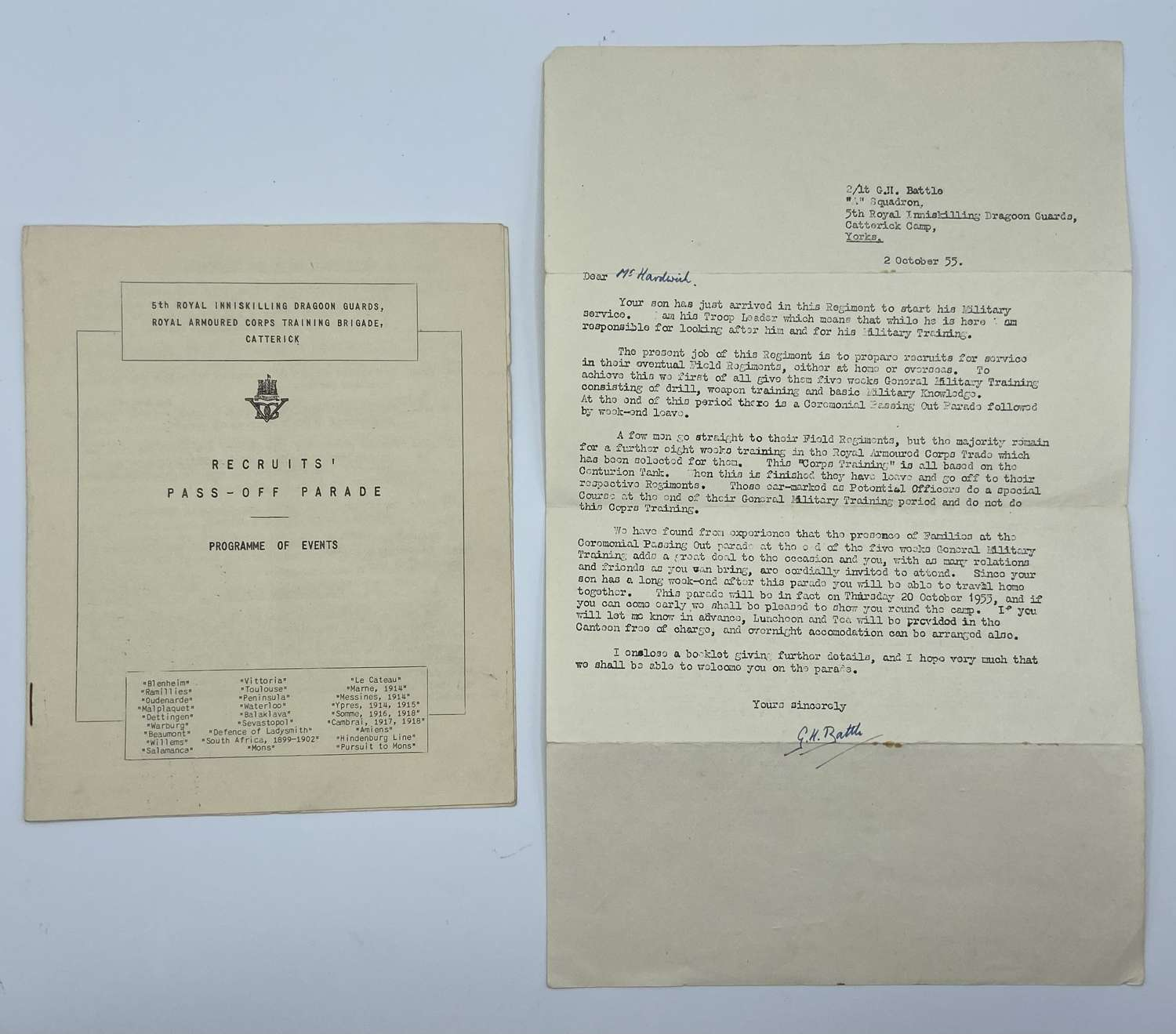 WW2 1955 Recruit Pass Of Parade Catterick Camp 5th VDG & RAC Programme