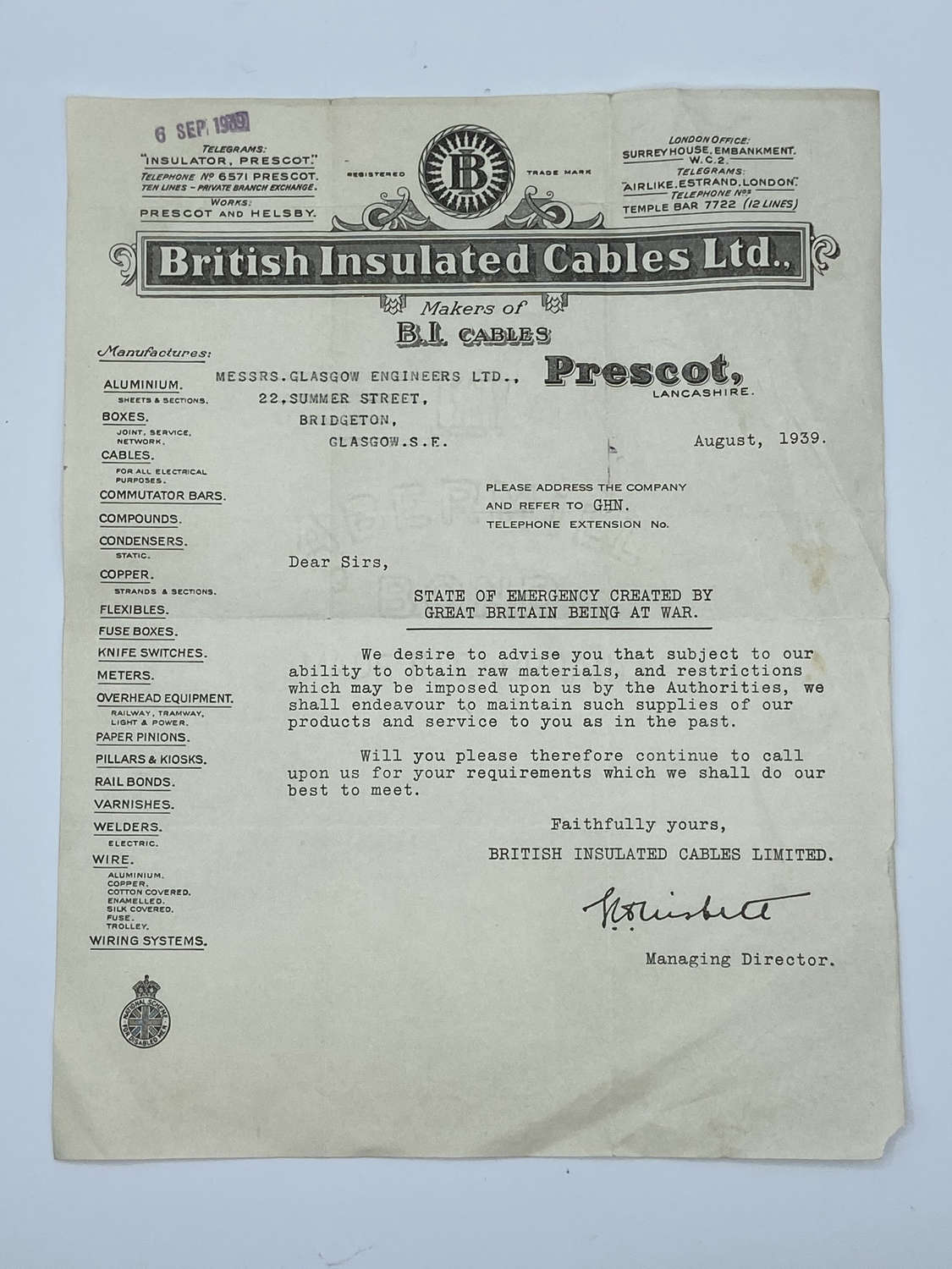 Rare WW2 HomeFront Historical Letter Of Build Up To War