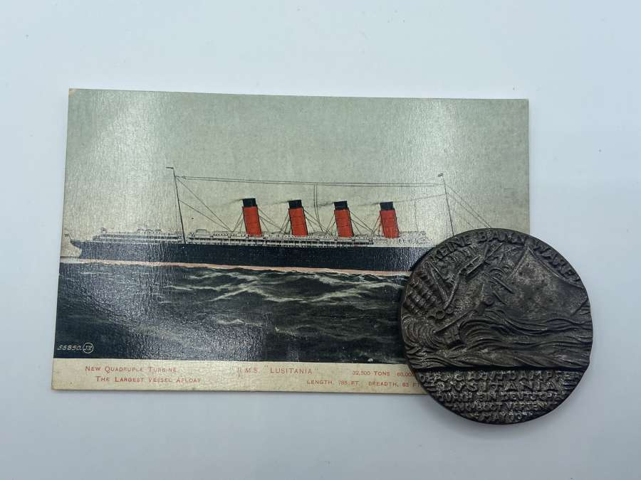 WW1 German 5 Mai 1915 Lusitania Iron First Obverse Medal & Post Card
