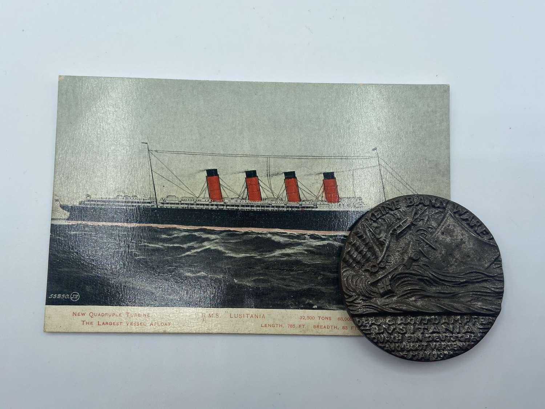 WW1 German 5 Mai 1915 Lusitania Iron First Obverse Medal & Post Card
