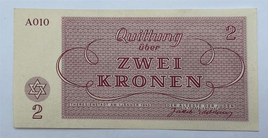 Ww2 1943 German Czechoslovakia 2 Kronen Theresienstadt Ghetto UCN