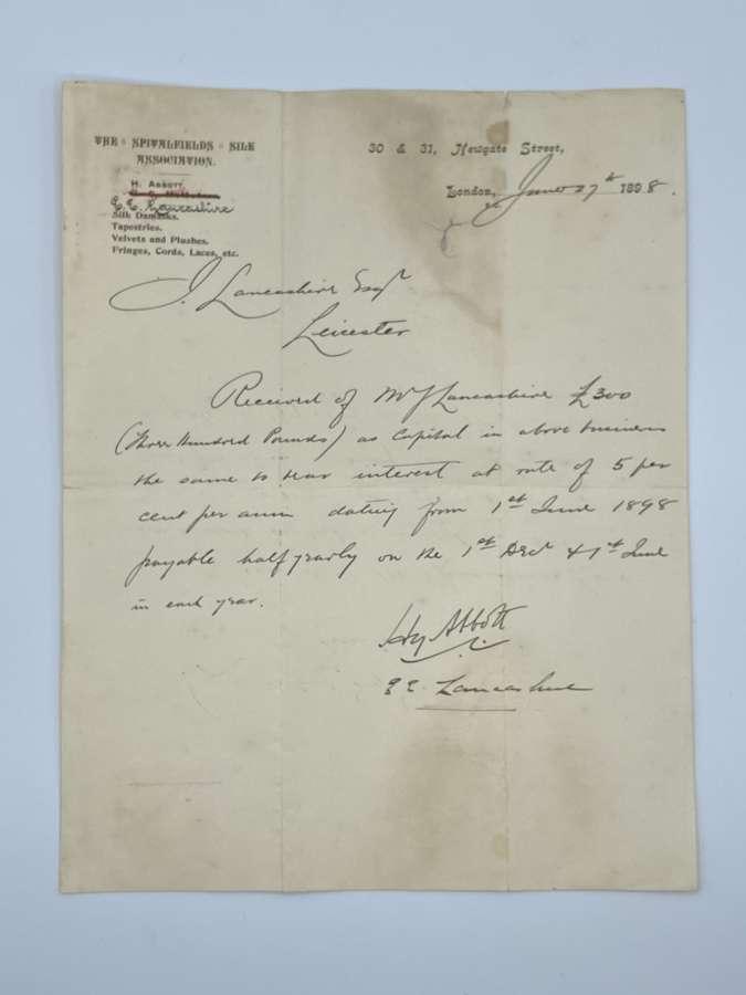 Rare Antique 1898 Spitalfields Silk Weavers Business Letter Via Master
